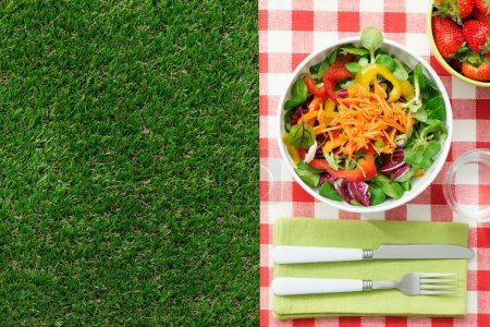 Photo for Fresh healthy salad on the grass and table set, picnic and healthy eating concept - Royalty Free Image