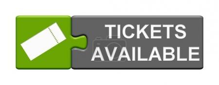 Photo pour Bouton de Puzzle isolé avec billet symbole montrant billets disponibles - image libre de droit