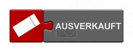 Photo pour Bouton de Puzzle isolé avec billet symbole montrant Sold Out en langue allemande - image libre de droit