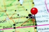 Kenosha pinned on a map of Wisconsin, USA