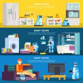 Artificial intelligence robots are aides for home care Modern robots around the house: laundry washing the floor cooks she brings coffee Vector illustration