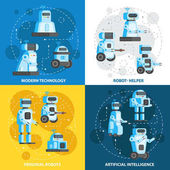 Artificial intelligence robots are aides for home care Modern technology personal robots Vector illustration