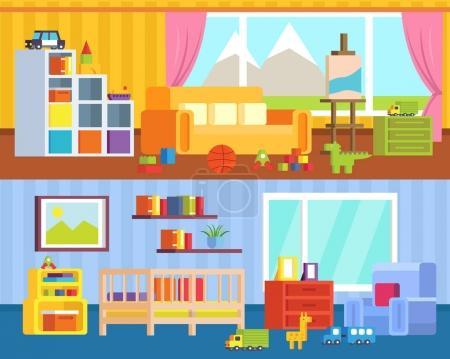Illustration pour Ensemble de meubles pour chambres d'enfants. Salle de jeux avec jouets, jardin d'enfants, crèche. Set de bureaux jouets. Aire de jeux avec mobilier pour enfants. Illustration vectorielle - image libre de droit