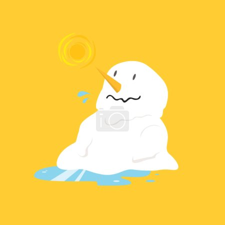 Illustration for Snowman melting on yellow background - Royalty Free Image