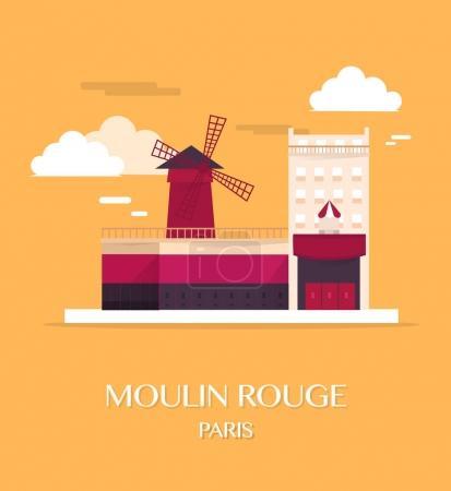 Famous landmark Moulin Rouge Paris