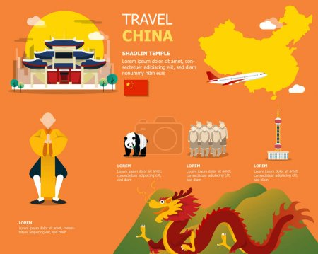 Map of the China and landmark icons for traveling...