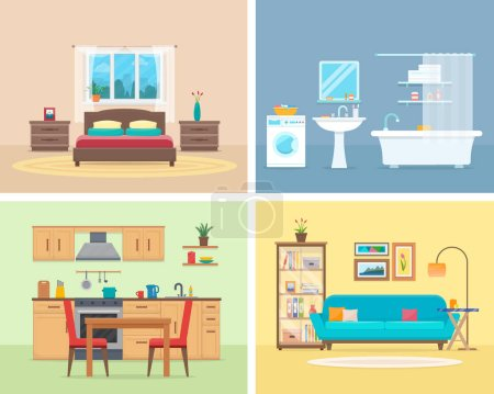 Illustration for Apartment inside. Detailed modern house interior. Rooms with furniture. Flat style vector illustration. - Royalty Free Image