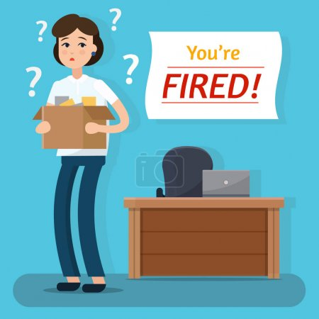 Dismissed woman. Fired from job