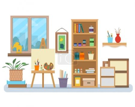 Illustration for Art studio interior. Creative workshop room with canvas, paints, brushes, easel and pictures. Design salon for artists. Flat style vector illustration. - Royalty Free Image