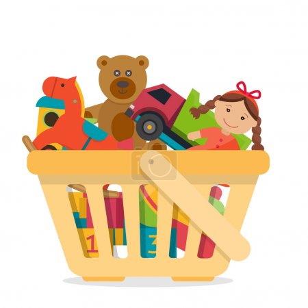 Illustration for Shopping basket with toys. Flat style vector illustration. - Royalty Free Image