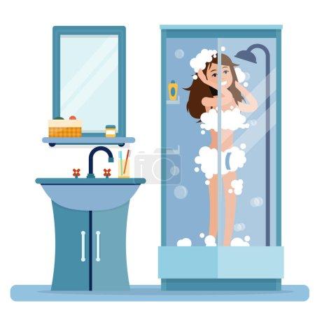 Woman takes a shower.