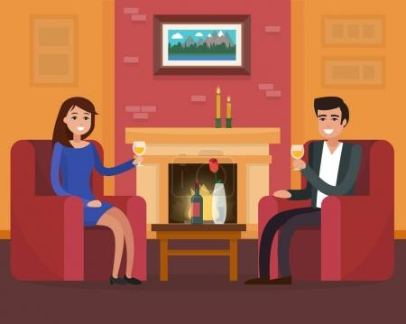 Illustration for Cozy room interior with chairs and fireplace. Couple on a date. Flat style vector illustration. - Royalty Free Image