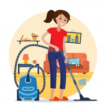 Woman cleaning room with vacuum cleaner.