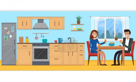 Couple in kitchen with furniture.