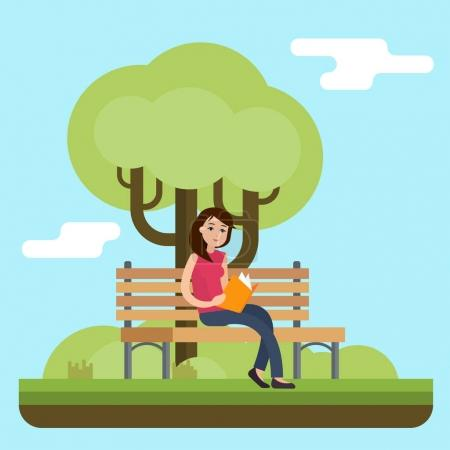 Young woman reading book on bench in park.