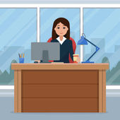 Business woman on the table in office