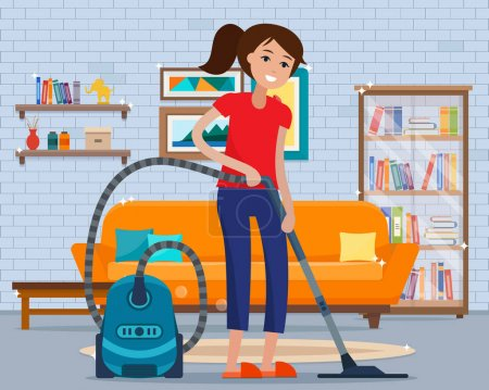 Illustration for Woman cleaning room with vacuum cleaner. Flat style vector illustration. - Royalty Free Image
