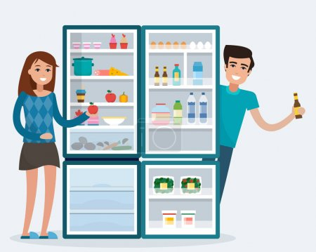 Man and woman with fridge.