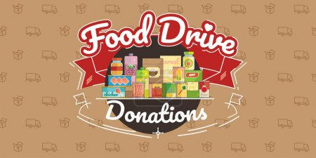 Illustration for Food Drive non perishable food charity movement, vector badge logo illustration - Royalty Free Image