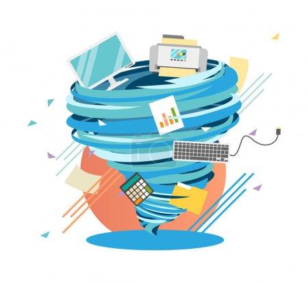 Crazy Worklife swirl, mad office hurricane