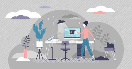 Illustration pour Travail du concept de la maison, illustration vectorielle de personne minuscule plat. Installation intérieure de bureau à distance indépendante avec bureau, chaise et ordinateur. Fille designer profiter de la routine de la vie quotidienne et la liberté. - image libre de droit
