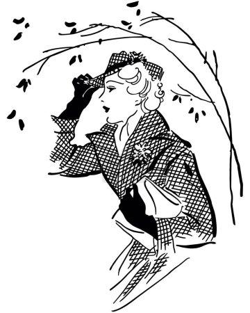 Illustration pour Illustration Clip Art rétro - Bien vêtue, dame élégante dans une hâte tout en faisant des courses - image libre de droit