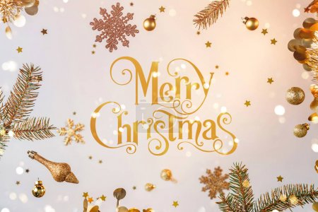 Photo for Merry Christmas text with gold flying decorations, gift boxes, fir branches, snowflakes, sparkles and confetti on light gold background. Xmas and New Year holiday, bokeh, light. Selective focus - Royalty Free Image