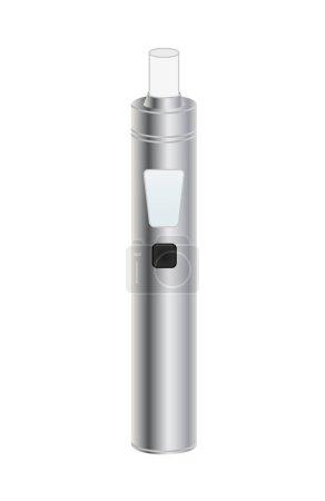 Silver Electronic Cigarette. Vaporizer e-cigarette device.