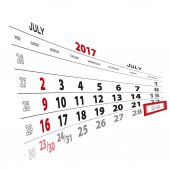 July 29 highlighted on 2017 calendar