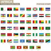 Postage stamp with Africa flags Set of 53 African flag Vector Illustration