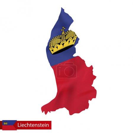 Liechtenstein map with waving flag of Liechtenstein.