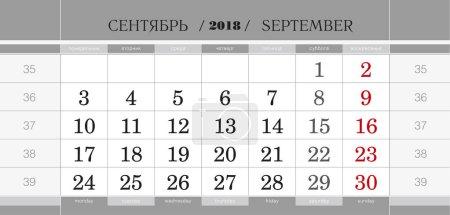 Calendar quarterly block for 2018 year, September 2018. Week starts from Monday.