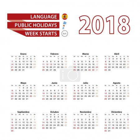 Calendar 2018 in Spanish language with public holidays the country of Argentina in year 2018.