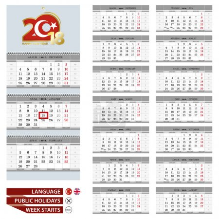 Wall calendar planner template for 2018 year. Turkish and English language.