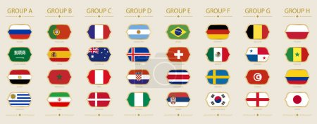 Flags of soccer tournament sorted by group. World Cup 2018.