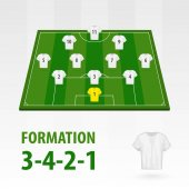 Football players lineups, formation 3-4-2-1. Soccer half stadium