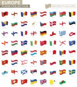 Waving flag icon, flags of Europe countries sorted alphabetically