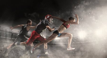 Photo for Irresistible in attack. Multi sports collage about basketball, American football players and fit running woman. Conceptual photo with running athletes in motion or movement at stadium with sand, smoke - Royalty Free Image