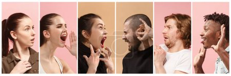Photo for Angry people screaming. The collage of different human facial expressions, emotions and feelings of young men and women. The man and woman in profile isolated on studio background. Human emotions - Royalty Free Image