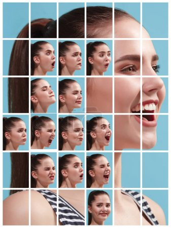Photo for The collage of different human facial expressions, emotions and feelings of young woman. Happy businesswoman standing and smiling isolated on studio background. Human emotions, facial expression - Royalty Free Image