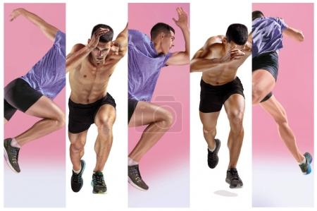 Photo for The studio shot of high jump athlete is in action isolated on white background. Collage with one fit model. one caucasian man runner jogger running or jogging isolated on white and pink studio - Royalty Free Image
