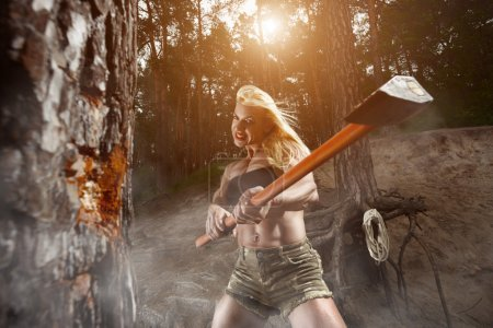 Fitness woman lumberjack