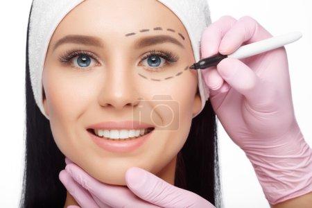 Plastic surgery woman face.