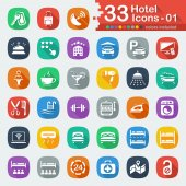 Flat hotel icons for web and mobile applications
