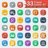33 white flat travel icons 01