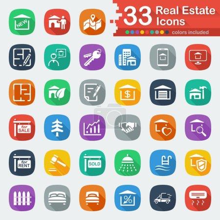 White flat real estate icons