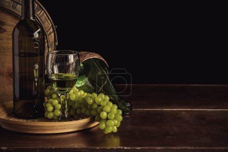 grapes wine on a wooden