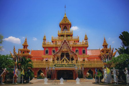 Thai temple with blue sky.