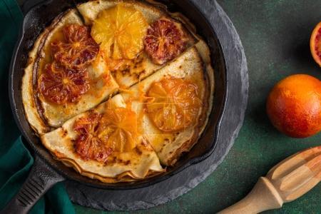 crepes suzette, delicious pancakes with orange sauce