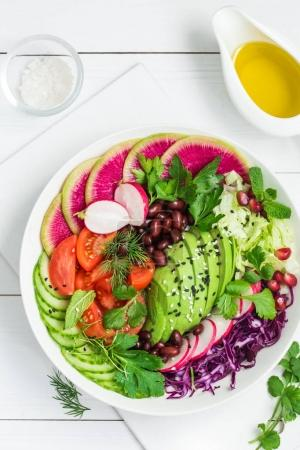 vegan lunch salad in bowl